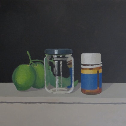 Acrylic Painting - Art - Still Life with Limes, Jar and Vitamin Bottle - Australian Artist Shellie Cleaver - Acrylic Canvas Painting