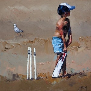 Beach cricketer iii limited edition giclee art print claire mccall bluethumb art 8e18