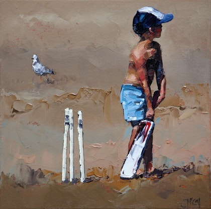 Beach Cricketer III - Limited Edition Giclee Art Print  Ed. 2 of 100