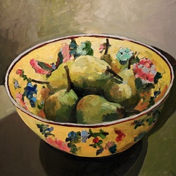 Yellow bowl and pears ray saunderson bluethumb art 124d