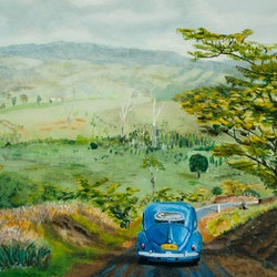 1960s road trip 1957 vw beetle rodney black bluethumb art 267b