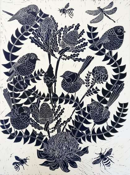 Fairy Wren and Banksia Lino print Ed. 7 of 100