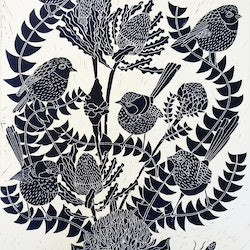 Fairy wren and banksia lino print marinka parnham bluethumb art 8b49