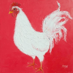 Rooster on red jan matson bluethumb art 2aac