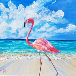 Flamingo in aruba donna gibb bluethumb art 0ad1