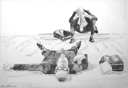 Study for The Business Incident - Two Businessmen Bang Heads Whilst Bowing