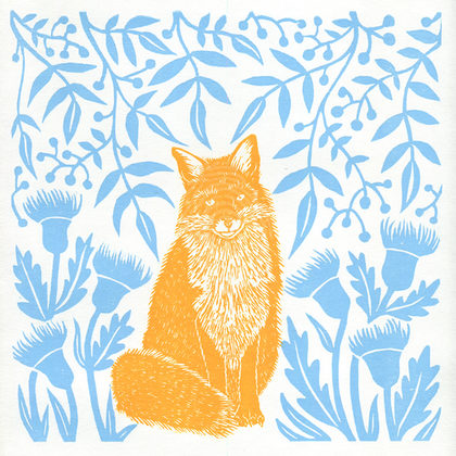 Fox in the Fields (2-Colour Lino Print, Unframed) Ed. 1 of 10