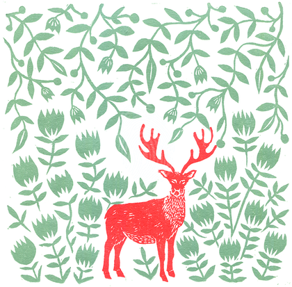 Reindeer in the Forest (2-Colour Lino Print, Unframed) Ed. 1 of 10