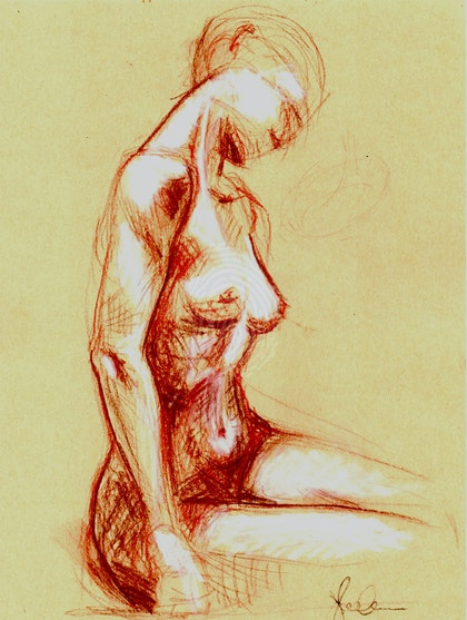 Nude seated study 01