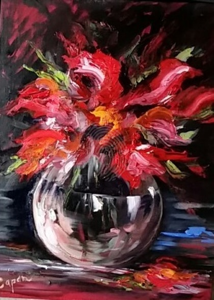 Glass Bowl of Red Flowers