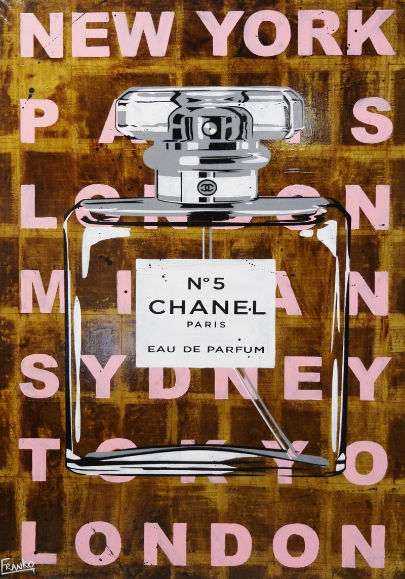 """Chanel Gone 140cm x 100cm (on a VINTAGE 1939 copy of """"Gone with the wind"""") Arrives ready to hang with Gallery Finished edges on a high quality 40mm double thick frame.  # no further framing needed"""