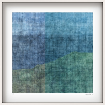 'PENINSULA' Limited Edition Giclee Print on paper in 52.5cm white shadow box frame. Ed. 7 of 25