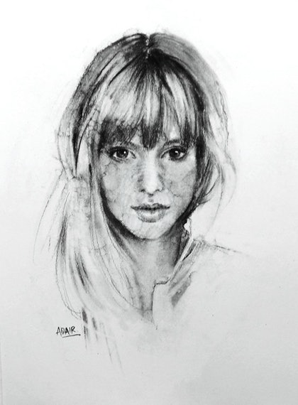 Portrait - 'Painted' with Charcoal
