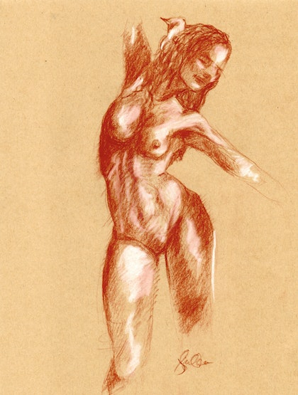 Nude study of the subtle back arch