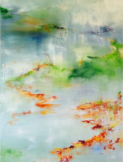 Autumn Floats - Professional Grade Mixed Media Painting on Gallery Depth Stretched Linen Canvas