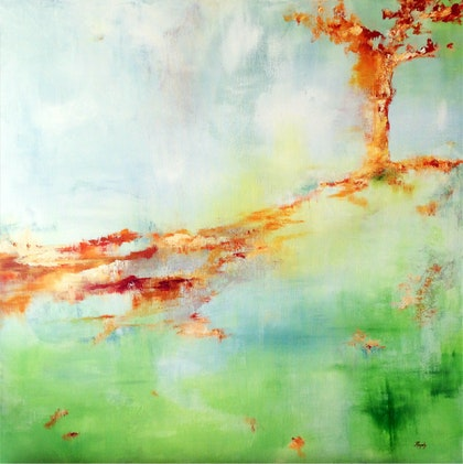 Autumn Breeze - Professional Grade Mixed Media Painting on Gallery Depth Stretched Caravaggio Linen Canvas