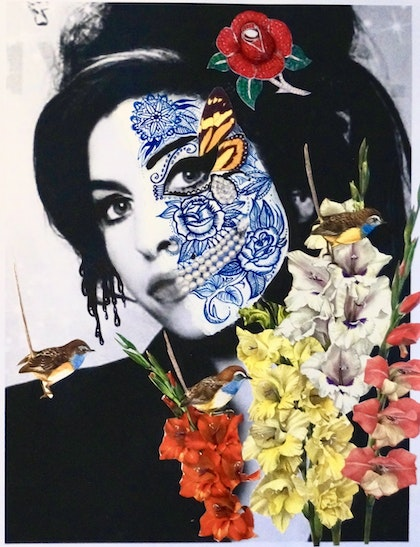 Amy Winehouse with Spirit Bird: Blue Wrens & Botanicals: Gladioli