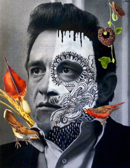 Johnny Cash with Spirit Bird: Old World Seed Eater & Red Throat Robin Botanicals: Dracunculus Vulgaris & Aristolochia Elegance