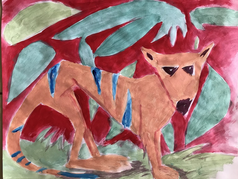Blue-striped Thylacine in a Red and Green Forest