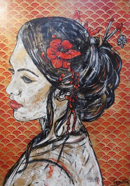 """""""Seeing Red Geisha"""" 140cm x 100cm (on book """"Memoirs of a Geisha"""") Pages on Canvas on a high quality deep edge frame.  # no further framing needed"""