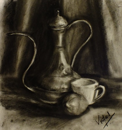 Still life charcoal drawing - kettle, lemon and coffee cup