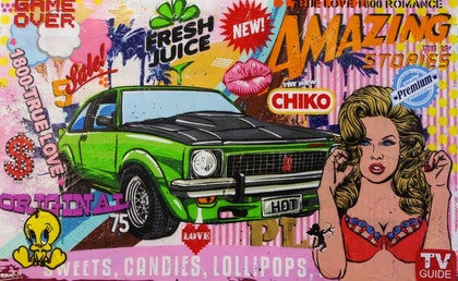 """Cars and Fresh Juice 160cm x 100cm Torana """"Hot"""".  Acrylics and Sugar Sprays. Arrives ready to hang with Gallery Finished edges on a high quality 40mm double thick frame."""