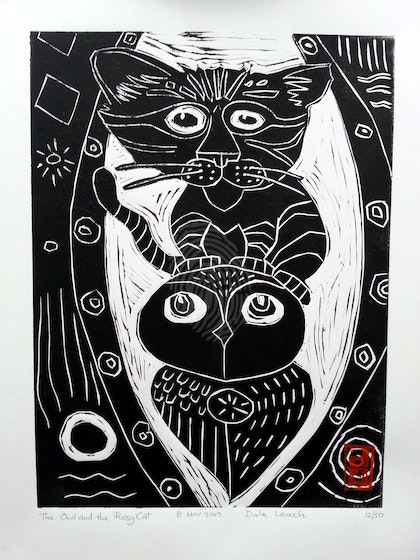 The Owl and the Pussycat  Lino Print Edition  22 of 50
