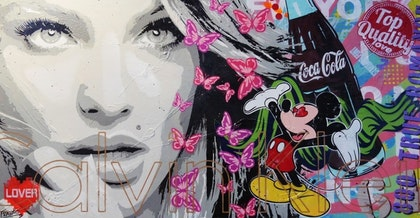 Butterfly Queen 190cm x 100cm     Acrylics, spray, texture, gloss finish on a double edged finished quality canvas
