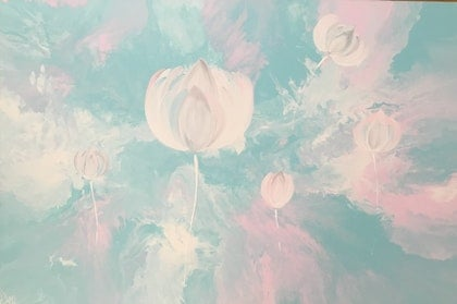 """Original canvas painting """"surreal lotus flowers"""" pink turquoise white grey"""