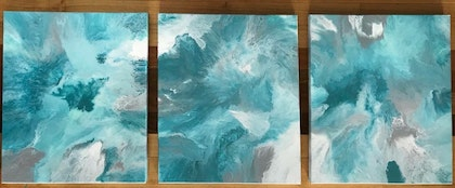 """ORIGINAL ABSTRACT ART PAINTING ON ROUND STRETCHED CANVAS x 3  """"TEAL TRIPTYCH"""" TEAL GREEN MINT GREEN WHITE"""