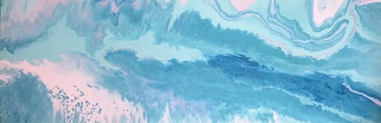 """ORIGINAL ABSTRACT ART PAINTING ON STRETCHED CANVAS  """"TRANCE""""  BLUE WHITE PINK TURQUOISE"""