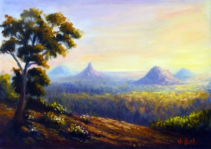 Afternoon light Glasshouse Mountains - QLD