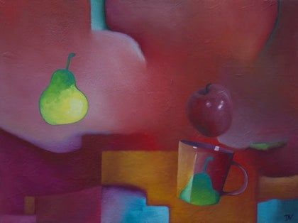 STILL LIFE - RECURRENCE. APPLE, PEAR, CUP
