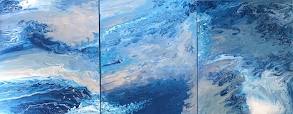 """ORIGINAL ABSTRACT ART PAINTING ON ROUND STRETCHED CANVAS x 3  """"SURF TIME""""  BLUE WHITE SILVER"""