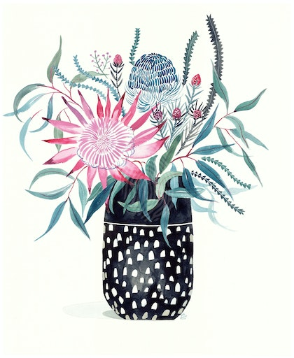 Ceramic Vase of Natives with King Protea