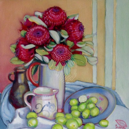Red waratahs and limes