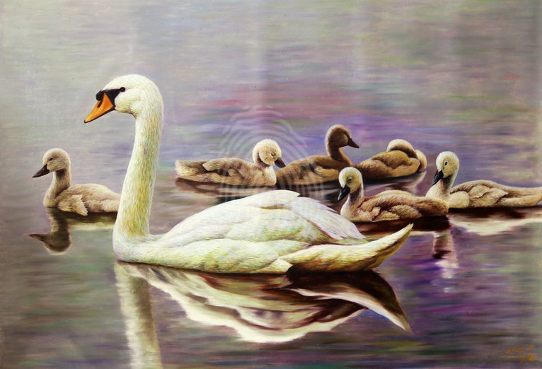 Swans - OIL PAINTING - HAND PAINTED CANVAS 115CM X80CM - North Korean Painting
