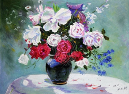 FLOWERS OIL PAINTING - HAND PAINTED CANVAS 53CM X41CM - North Korean Painting