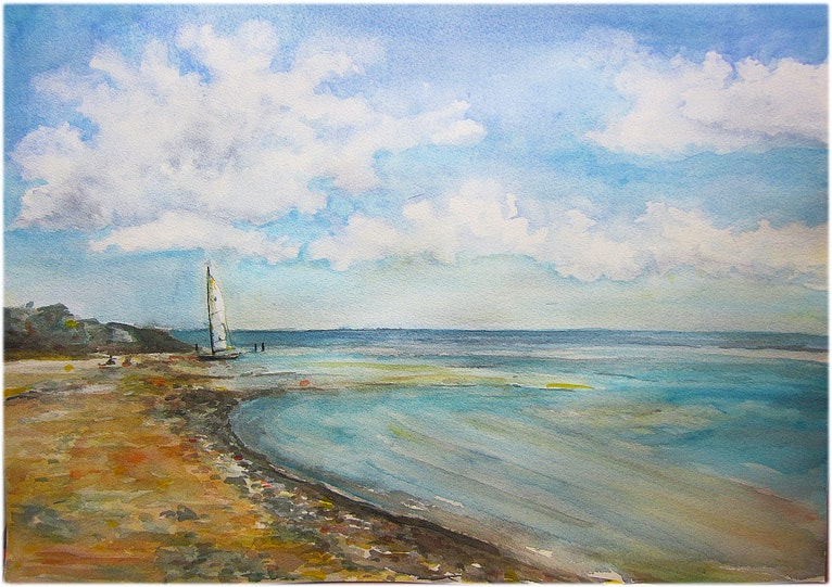 Sunny day in the Sydney beach - ( Australian seascape, ocean, harbour, beach, clouds watercolour painting )