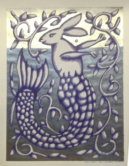 Large Mer-Rabbit hand Metallic inked Giclee