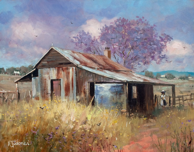 Jacaranda Beside The Old Barn By Robert Todonai Paintings