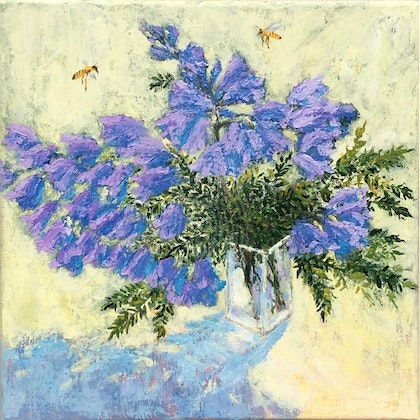 Jacaranda in a glass vase