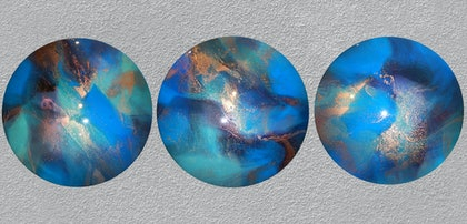 PEACOCK STRUT - Triptych Resin Abstract Art