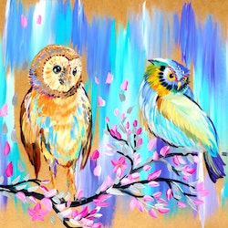 Owls two paintings each on cathy snow bluethumb art 2614