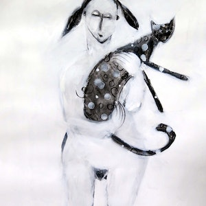Girl and cat john graham bluethumb art 77da