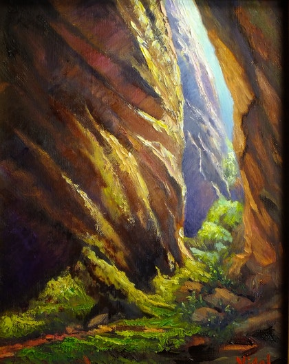 Original oil on Belgian linen - Warm lights canyoning at Blue Mountains