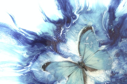 ABSTRACT IMPRESSIONISM Pastel Turquoise Butterfly | MARIE ANTUANELLE- Limited Edition Print - Seascape Wave  Abstract wall art  Ed. 2 of 10