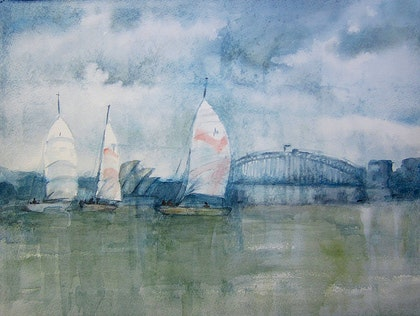 Windy day in the Sydney Harbour - ( Australian seascape, harbour , boats, watercolour painting )