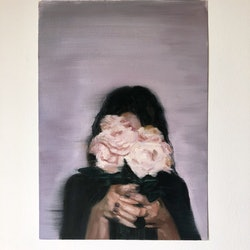 Flowers in front of face holly harper bluethumb art d930