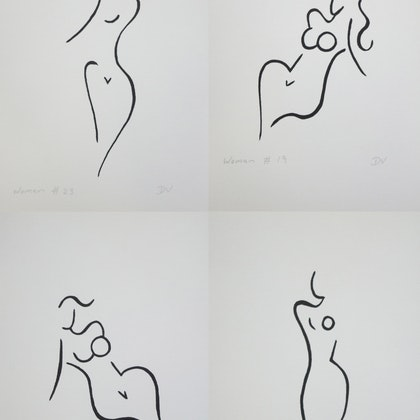 Women series line drawings - set of four